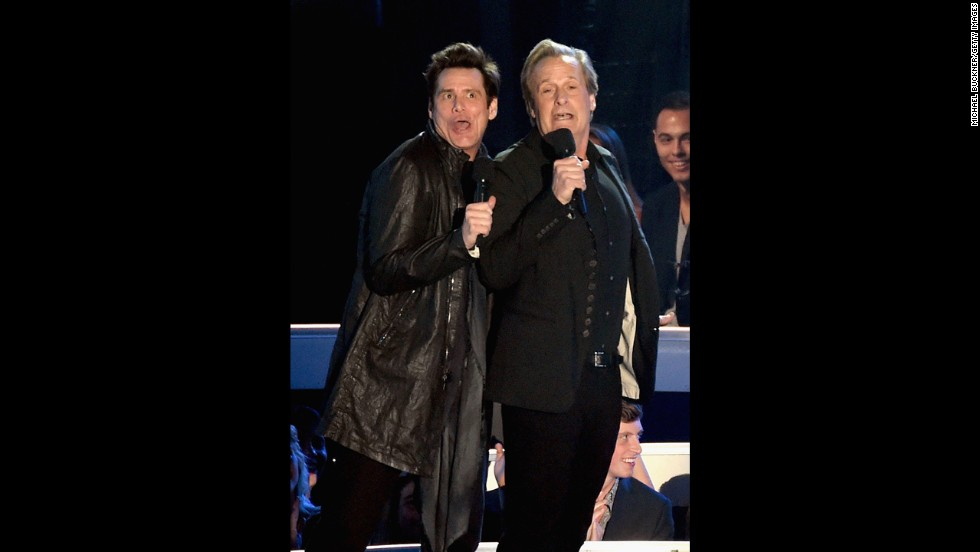 "Jim Carrey, left, and Jeff Daniels get ""Dumb and Dumber"" on stage at the 2014 MTV Video Music Awards."