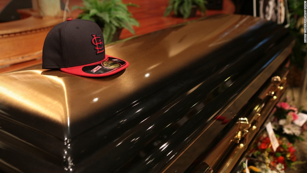Brown's casket sits inside Friendly Temple Missionary Baptist Church in St. Louis before the start of his funeral.