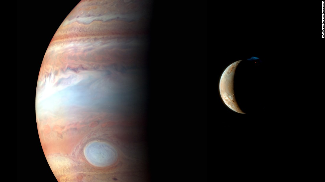 New Horizons captured this image of Jupiter and its volcanic moon Io in early 2007.