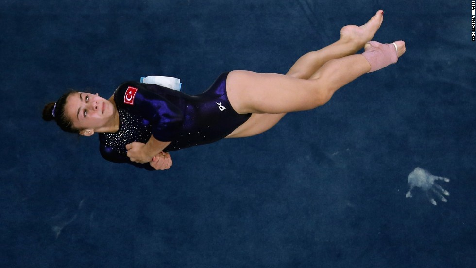 Tutya Yilmaz of Turkey competes in the floor exercise final on Day 8 of the 2014 Summer Youth Olympic Games in Nanjing, China, on Sunday, August 24.