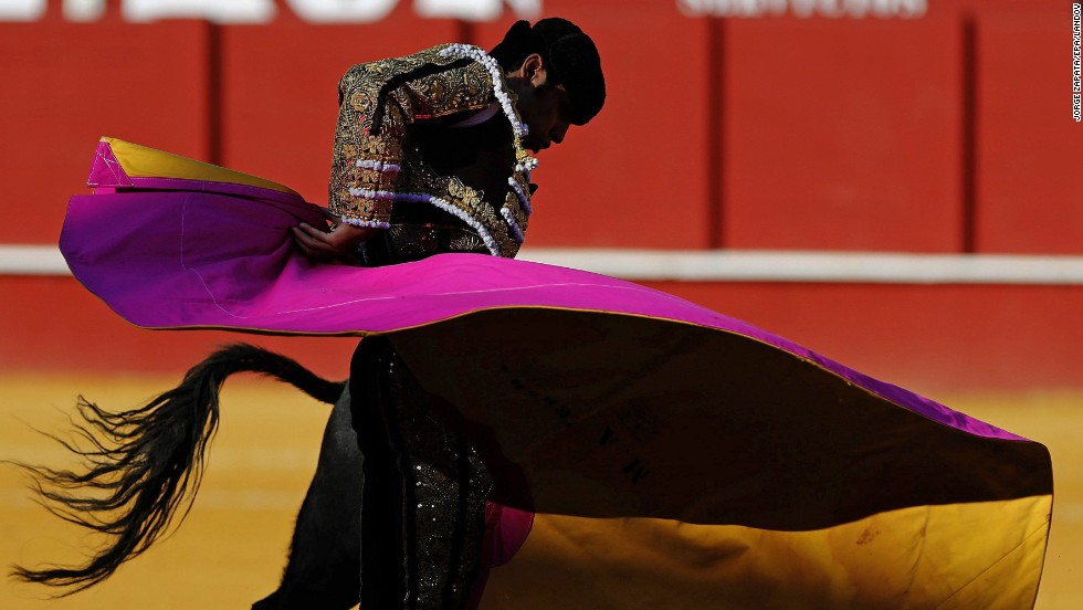 Spanish bullfighter Miguel Angel Perera fights in the La Malagueta bullring on Wednesday, August 20, in Malaga, Spain.