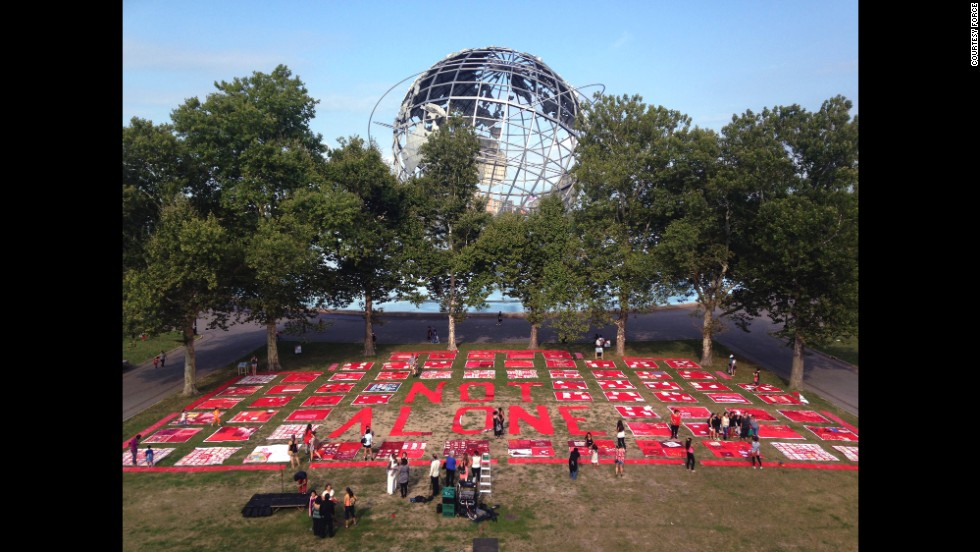 The Monument Quilt visited New York's Queens Museum, which hosted a series of quilt-making workshops ahead of time in partnership with Immigrant Movement International and Violence Intervention Program Inc.