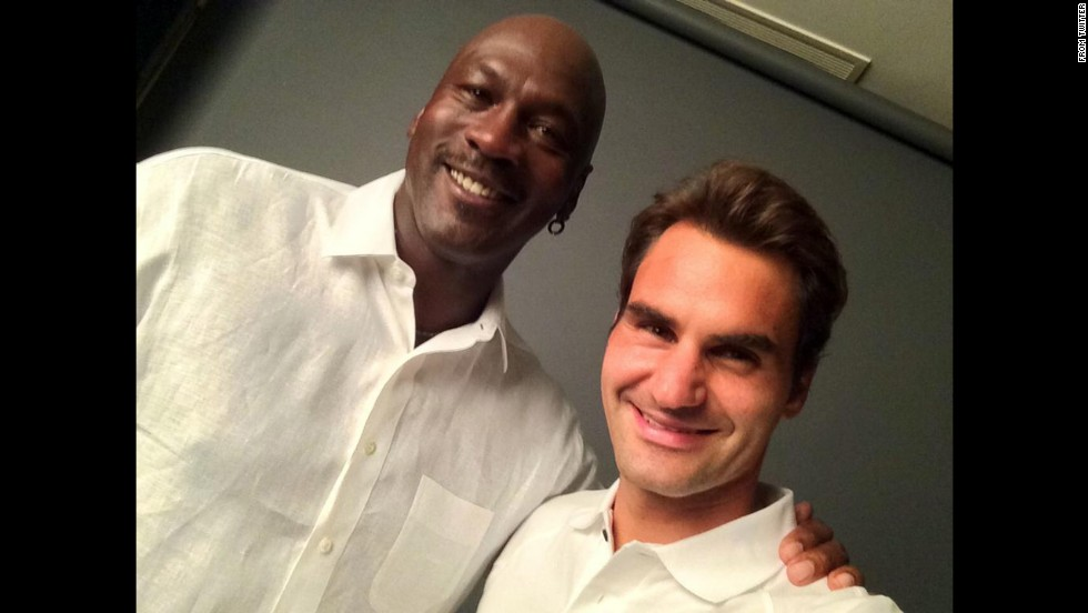"Tennis star Roger Federer <a href=""https://twitter.com/rogerfederer/status/504056436817539073/photo/1"" target=""_blank"">took to Twitter</a> to share this selfie with basketball legend Michael Jordan."