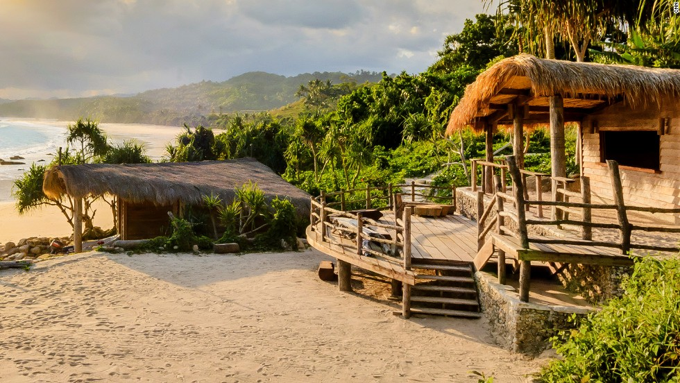 The hotel incorporates local styles to integrate with the environment (the building to the right opens as a bar in the evening). It's won several sustainability and eco-awards. All profits from the hotel go to the Sumba Foundation, which supports the local community.