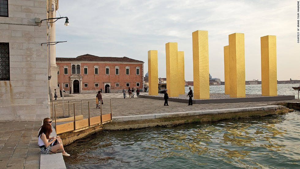 "The Venice Biennale has spawned a huge selection of art exhibitions and architectural displays across the city beyond the <a href=""http://edition.cnn.com/2014/06/16/travel/venice-architecture-biennale-rem-koolhaas/"">ticketed barriers of the Giardini</a>. World renowned  artists are experimenting within various historical interiors and waterfronts across Venice. Heinz Mack's gold pillars are pictured next to Palladio's Church."