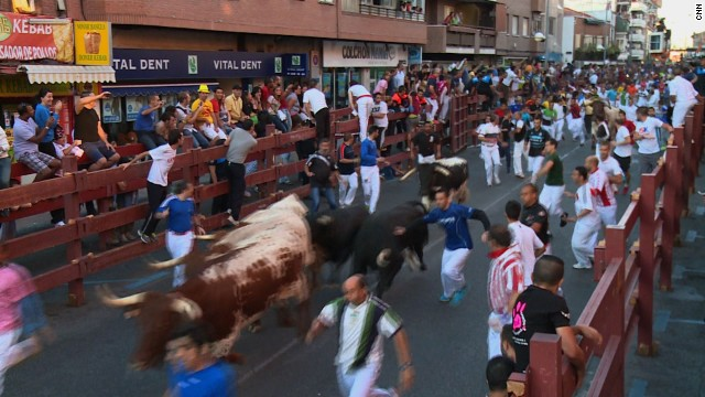 "Running of bulls at San Sebastian. Not as famous as San Fermin but a regular stop on the ""bull running"" circuit."