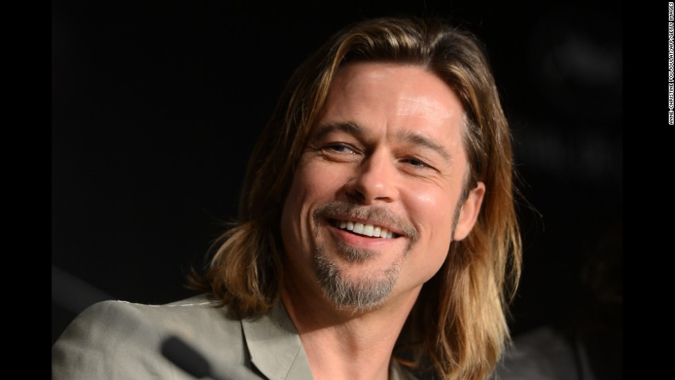 "Pitt attends a press conference for his film ""Killing them Softly"" at the Cannes International Film Festival in France in May 2012."