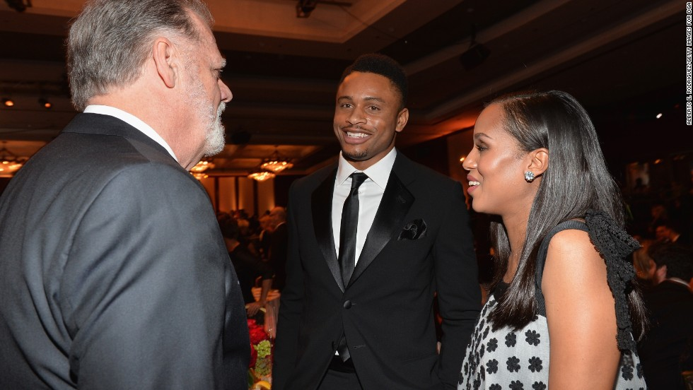 "Director Taylor Hackford, left, talks to actor Nnamdi Asomugha and actress Kerry Washington in January, but probably not about their relationship. Fans were shocked when Asomugha, a former NFL football player, and Washington married in 2013, and so far they have managed to keep <a href=""http://theybf.com/2014/06/23/adorable-alert-kerry-washington-nnamdi-hit-a-bbq-with-baby-isabelle"" target=""_blank"">their infant daughter under wraps. </a>"