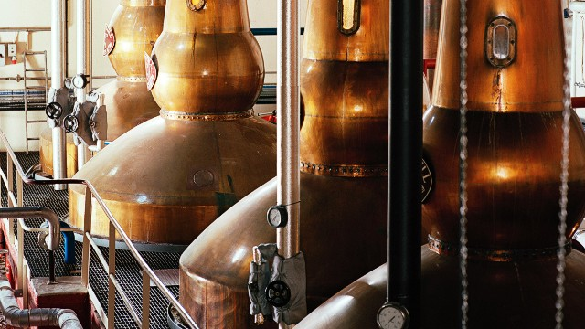 The copper Balvernie whisky stills in Speyside, Scotland
