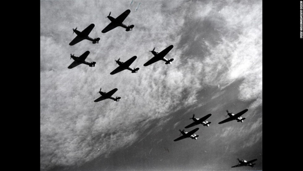 British Hawker Hurricanes fly in formation during the Battle of Britain in 1940. The planes were a first line of defense against German bombers attacking England. The battle, fought between July 10 and October 31, 1940, was the first major battle to be won in the air. The Royal Air Force's victory thwarted Hitler's plans for invading Britain.