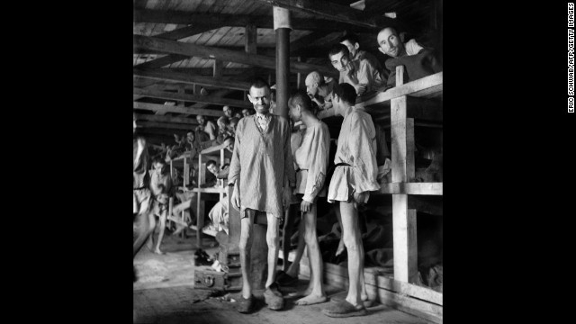 Prisoners in block 61 of Buchenwald concentration camp in April 1945. The construction of Buchenwald camp started 15 July 1937 and was liberated by US General Patton's army 11 April 1945. Between 239,000 and 250,000 people were imprisoned in this camp. About 56,000 died among which 11,000 Jews. On the 4th of April Patton's army liberated the Buchenwald sub-camp in Ohrdruf, where they only found about fifty corpses of prisonners.