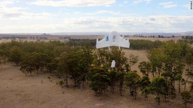 Google's Project Wing prototype testing delivery by drone on a farm in Australia.