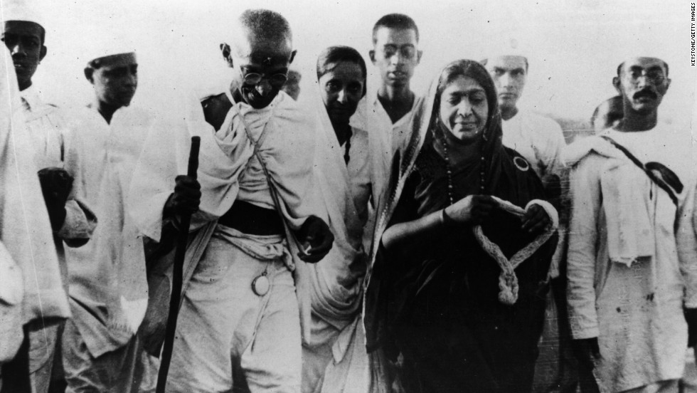 On March 12, 1930, Indian nationalist leader Mahatma Gandhi led a nonviolent protest against the British Empire. The march protested the British tax on salt, a necessity of everyday life. Gandhi called for Indians to illegally make salt or buy it illegally. More nonviolent protests against the tax were mounted in large cities across India, and Gandhi's methods eventually led to India's independence.
