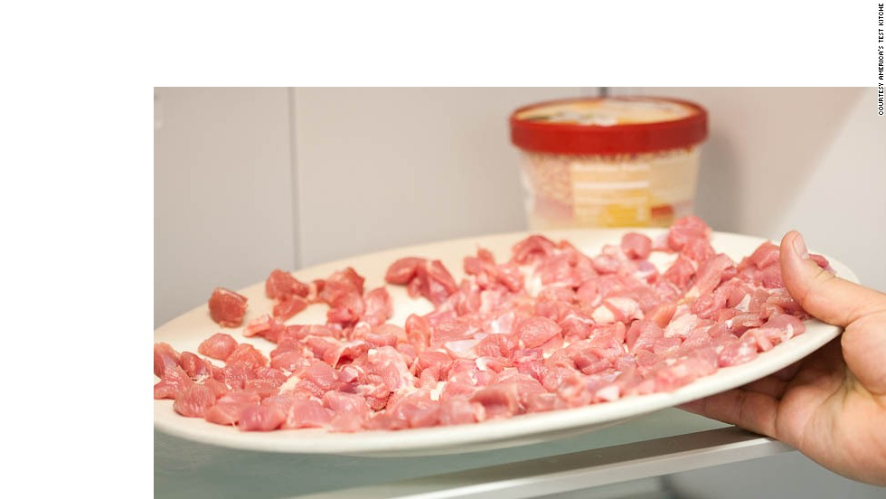 Freeze meat until very firm and hardened around edges, 35 to 40 minutes.