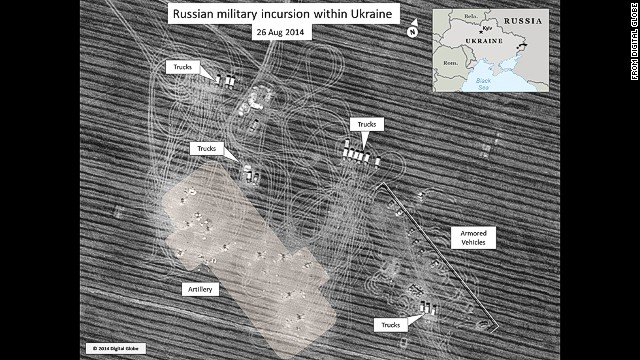 This is a satellite photo made available to CNN by UK security sources purporting to show Russian trucks in Ukraine.