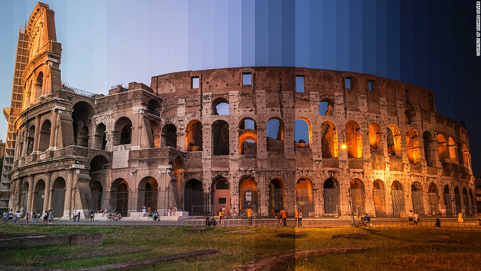 "<em>The Coliseum, Rome</em><br /><br />Photographer <a href=""http://www.richardsilverphoto.com/"" target=""_blank"">Richard Silver</a> has a pretty sweet job. He spends his time touring the world and its most famous landmarks shooting images at the most tranquil hour of sunrise and the dying moments of sunset. His ongoing photo series, <a href=""http://www.richardsilverphoto.com/Portfolios/Time-Sliced/"" target=""_blank"">Time Sliced</a>, is an attempt to capture the fleeting beauty of day-to-night transitions, where 36 photos taken from dawn till dusk are spliced together to form a single image.By <strong>Monique Todd</strong>, for CNN"