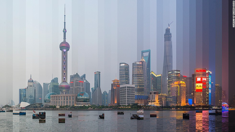 <em>The Bund, Shanghai</em><br /><br />For full effect, the images need to demonstrate a clear color progression. Silver makes sure that he has around 10 photos that show a drastic change in sky color and then he selects 32 shots to meld together at the end of the day.