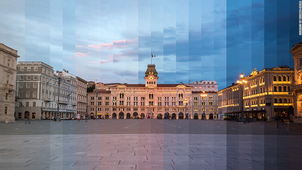 "<em>Unity of Italy Square, Trieste</em><br /><br />Armed with a tripod and Nikon D800, Silver spends only a day or two at various global locations. After finding the best spot to set up, the native New Yorker snaps up photos of his chosen landmark just as the sun rises. Silver then returns to the same spot 45 minutes before sunset as the sky turns into a deep blue. Silver doesn't, as often assumed, take his photos throughout the whole day - ""people have misquoted me! I would say I work for about one hour and a half from start to finish."""