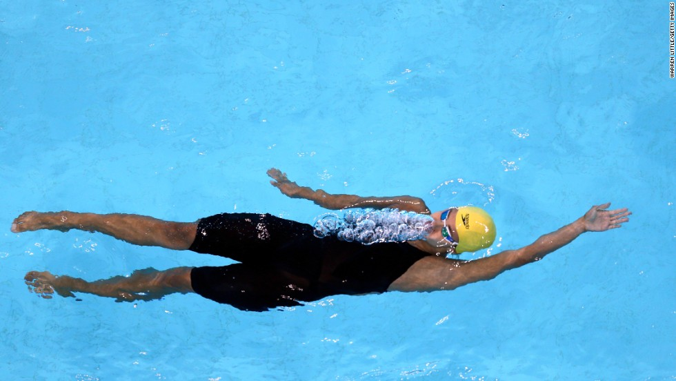 South African swimmer Kira Baptiste competes in the 200-meter backstroke on Sunday, August 31, during the FINA Swimming World Cup event in Dubai, United Arab Emirates.