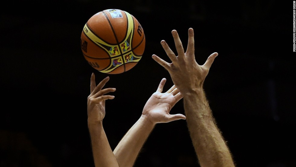 Players from Greece and the Philippines vie for the ball during a FIBA World Cup game in Seville, Spain, on Sunday, August 31.