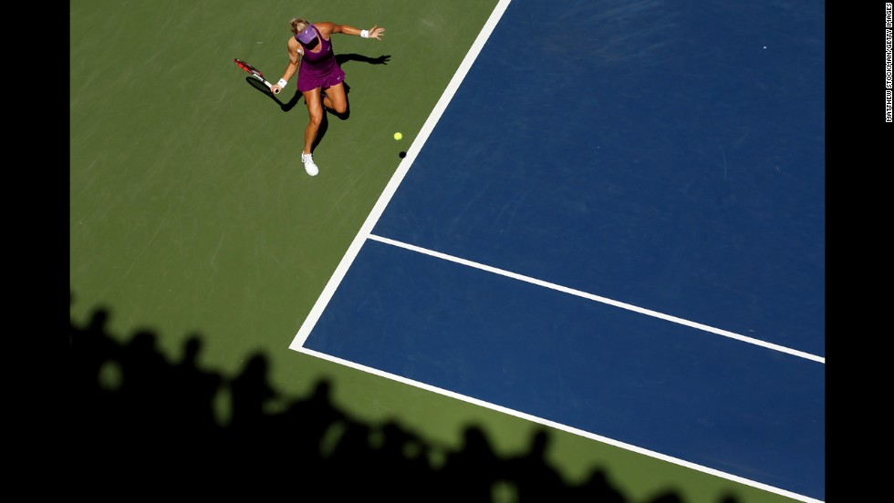 Mirjana Lucic-Baroni returns a shot during her U.S. Open match against Simona Halep on Friday, August 29. Lucic-Baroni won the match but lost in the fourth round to Sara Errani.