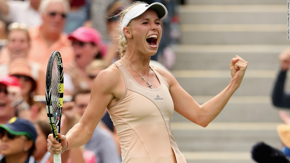 Caroline Wozniacki was pumped up after upsetting Maria Sharapova on Sunday to reach the quarterfinals of the U.S. Open.
