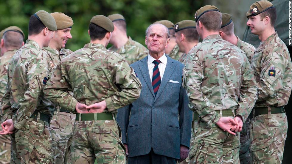 Prince Philip visits the 1st Battalion of the Grenadier Guards in February 2014.