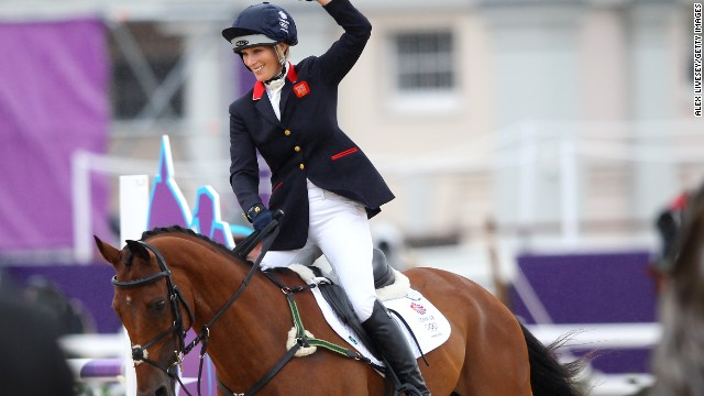 LONDON, ENGLAND - JULY 31: Zara Phillips of Great Britain riding High Kingdom after competing in the Individual Jumping Equestrian Final on Day 4 of the London 2012 Olympic Games at Greenwich Park on July 31, 2012 in London, England. (Photo by Alex Livesey/Getty Images)