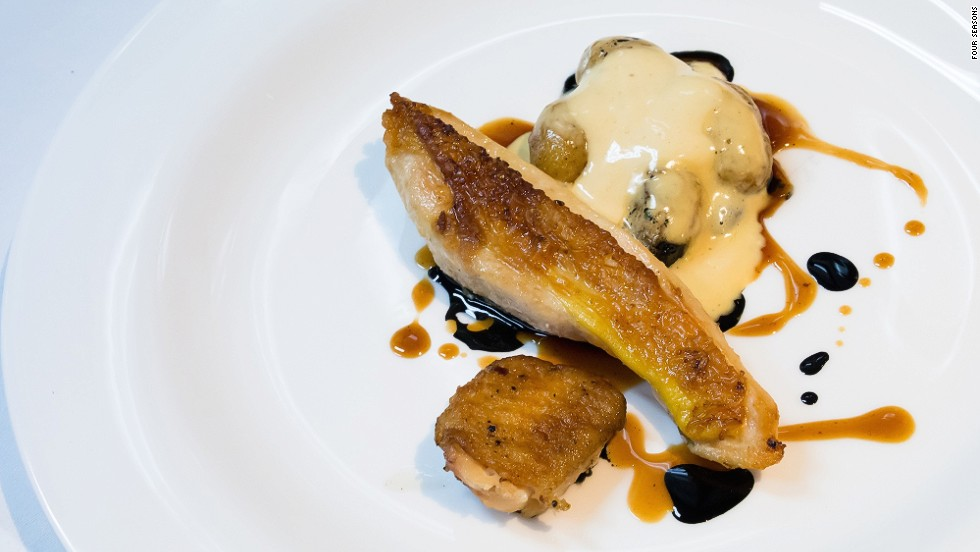 <strong>The dish:</strong> Poultry in hay, brown butter mayonnaise and potato by chef Akrame Benallal.<br /><br />Benallal's Akrame restaurant, opened in Paris in 2011, has two Michelin stars.