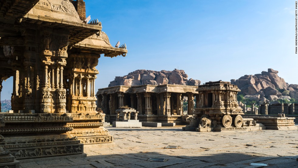 "<a href=""http://globalheritagefund.org/what_we_do/overview/completed_projects/hampi_india"" target=""_blank"">Hampi</a>, capital of the last Hindu Kingdom of Vijayanagar in India,<a href=""http://whc.unesco.org/en/list/241"" target=""_blank""> </a>was conquered in 1565 and plundered before it was abandoned. Several temples are still standing."