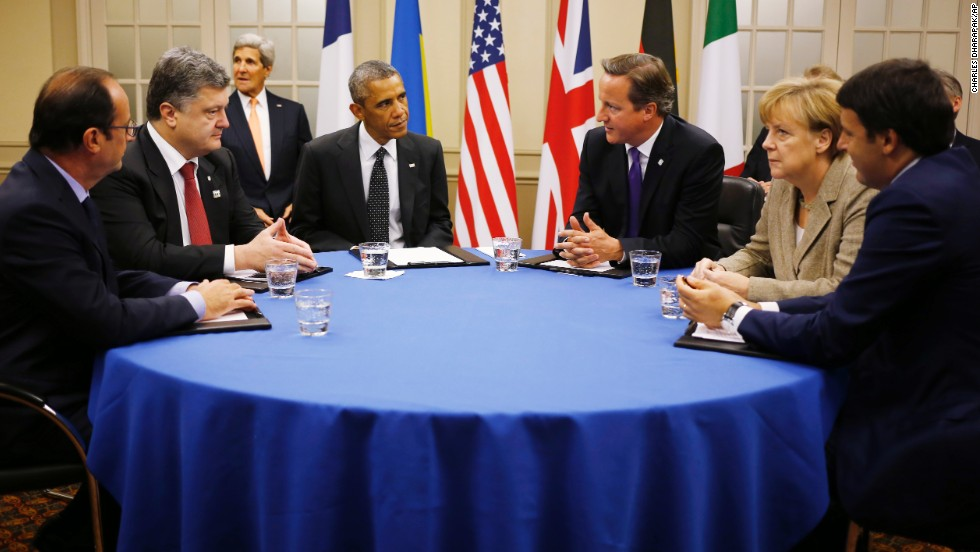 From left, French President Francois Hollande, Ukrainian President Petro Poroshenko, Obama, Cameron, German Chancellor Angela Merkel and Italian Prime Minister Matteo Renzi sit together September 4 to discuss the conflict in Ukraine.