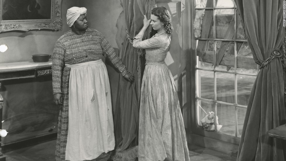 "In an iconic scene from the movie, Scarlett (Vivien Leigh) yanks down her mother's curtains for Mammy (Hattie McDaniel) to make a fancy dress to impress Rhett Butler and try to persuade him to give her $300 to pay the taxes on her plantation. ""The curtain dress has a special place in everyone's hearts,"" says Jill Morena, the Ransom Center's assistant curator for costumes and personal effects."