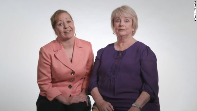 "Joyce Koch, right, and ""sister in spirit"" Karen Koch say in an AFL-CIO ad that they're not related to the Koch brothers."