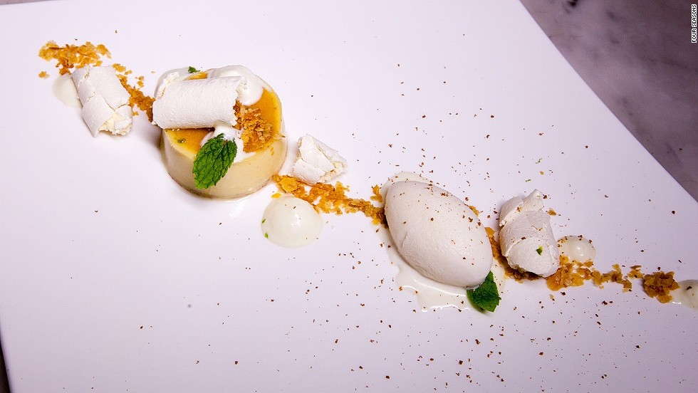 <strong>The dish:</strong> Portuguese egg pie, cinnamon ice cream, bergamot and puff pastry, by chef Rodrigues, executive chef at the Michelin-starred Feitoria restaurant.