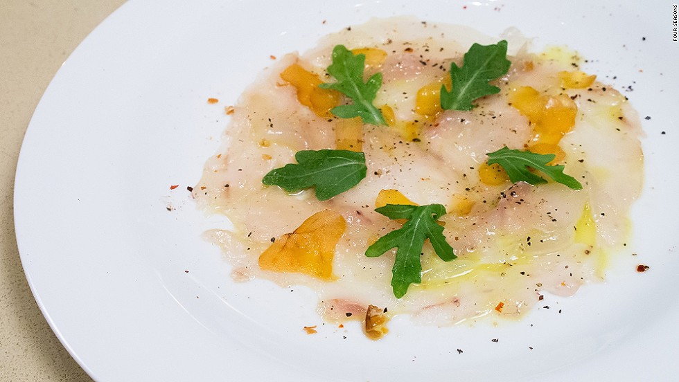 <strong>The dish:</strong> Sliced line-caught sea bass, lemon, piment d'Espelette and shaved bottarga, by chef Dufroux. <br /><br />Dufroux has worked with some of the most recognized chefs and restaurants in the French Basque country such as Chabichou in Courchevel, Hotel du Palais of Biarritz, Michel Guérard, Bernard Loiseau and Hotel les Pyrénnées -- Arrambide Family.