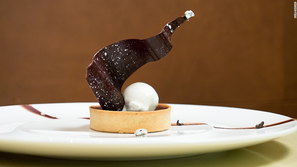 <strong>The dish:</strong> Chocolate tart, soft mascarpone cream and coffee, by chef Dufroux, owner of Bistrot Belhara.    <br />