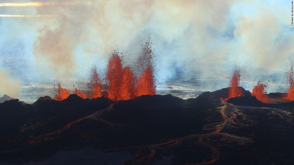 Fountains of lava spurt from a fissure in the ground on the north side of the Bardarbunga volcano in Iceland in September 2014.