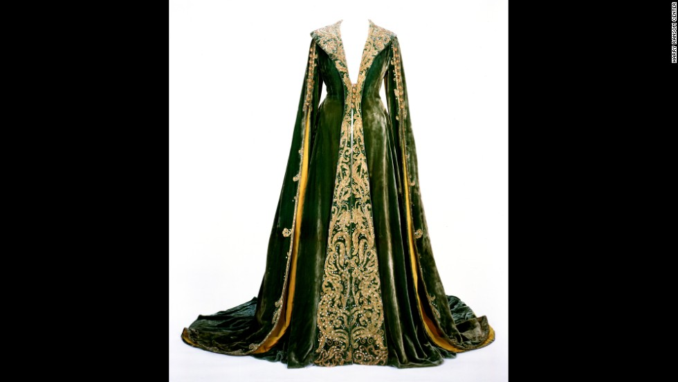 "A green velvet dressing gown -- known informally as the ""no more babies"" dress -- is the third of the original costumes on display at the Ransom Center. The center raised $30,000 in 2010 to help support conservation work on the dresses. Designer Walter Plunkett was the go-to guy in Hollywood for historical costumes, Morena says, noting his ability to mesh period accuracy of the 1860s and 1870s with the fashion sensibilities of the 1930s."