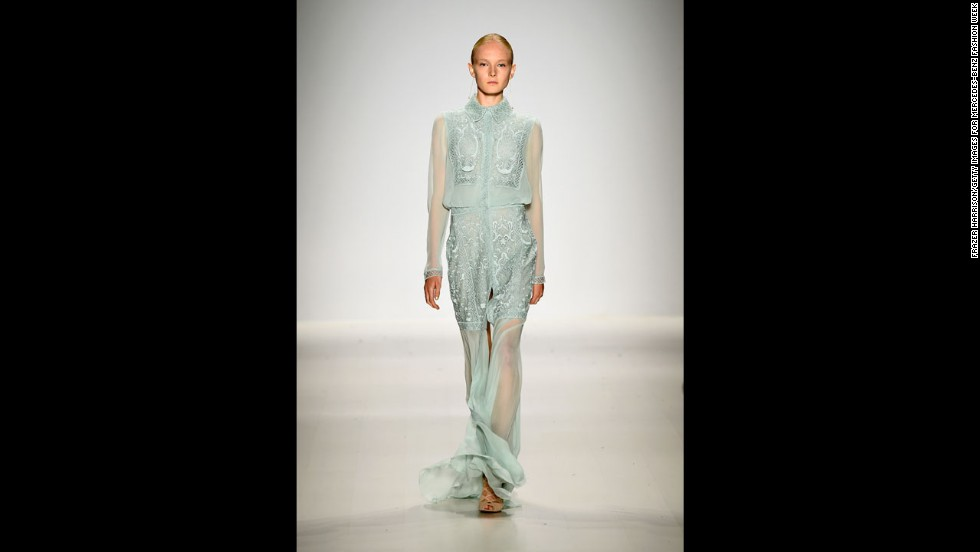 Tadashi Shoji played with sheer elements in this elegant look.