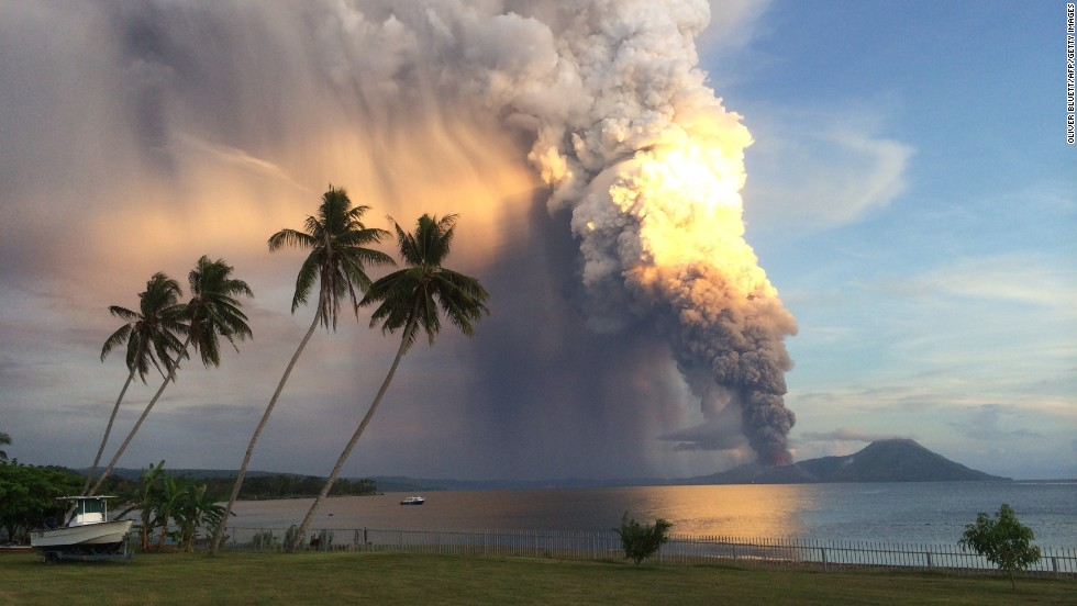 "Mount Tavurvur erupts Friday, August 29, in Papua New Guinea. The volcano <a href=""http://www.cnn.com/2014/08/29/world/asia/papua-new-guinea-volcano/index.html"">spewed a thick tower of ash</a> that reached as high as 60,000 feet above sea level. <a href=""http://www.cnn.com/2013/11/20/world/gallery/recently-active-volcanos/index.html"">See other recently active volcanoes</a>"
