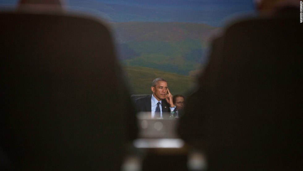 Obama listens to opening comments during a roundtable meeting of the North Atlantic Council at the NATO summit on September 5.