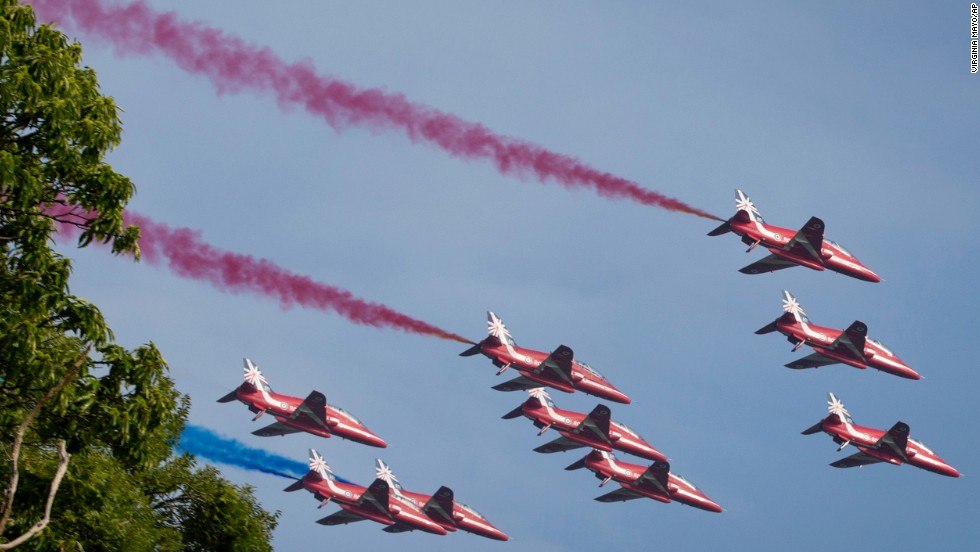 Military jets perform a flyover during the summit on September 5.