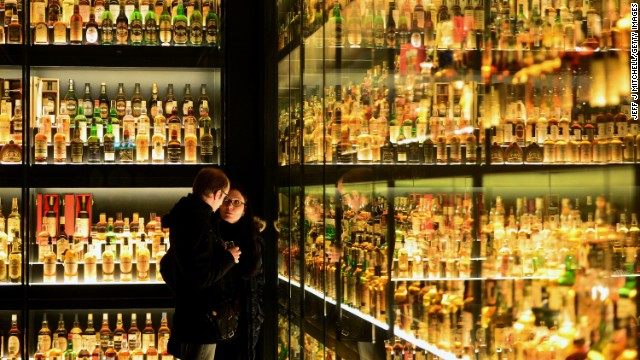 Members of the public view the Diageo Claive Vidiz Collection, the world's largest collection of Scottish Whisky on display at The Scotch Whisky Experience on March 19, 2014 in Edinburgh, Scotland. Chancellor of the Exchequer, George Osborne announced today in his final budget before the Scottish independence referendum, that duty on Scotch whisky is to be frozen. (Photo by Jeff J Mitchell/Getty Images)