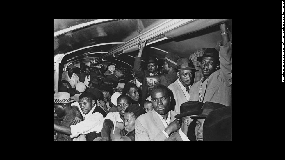 """All stand packed together on the floors and seats."" —House of Bondage, 1967 (According to Struan Robertson, a photojournalist and a friend of Cole's, tsotsis [thugs or street criminals] used the extreme crowding on black trains to rob passengers, especially on payday.)"