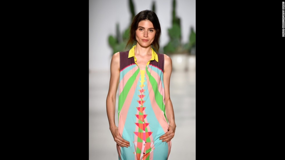 This print brightened up the Mara Hoffman runway.