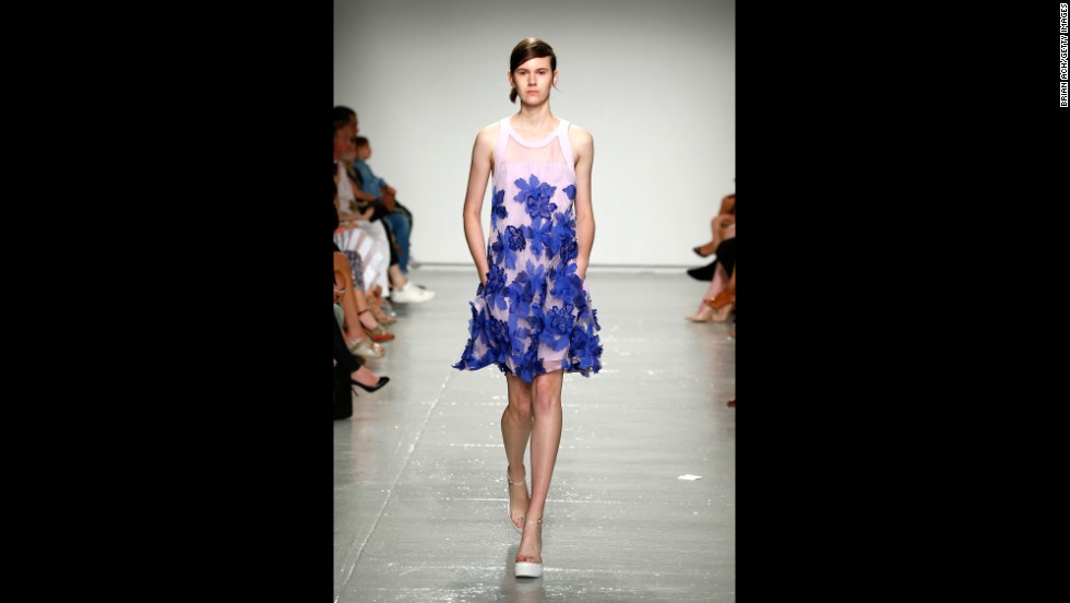 Rebecca Taylor showed her spring collection on September 6. Here, a model wore a lilac dress with embroidered flowers.