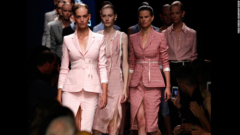 Joseph Altuzarra debuted the spring collection for his brand Altuzarra on September 6. The first few looks featured pink gingham.