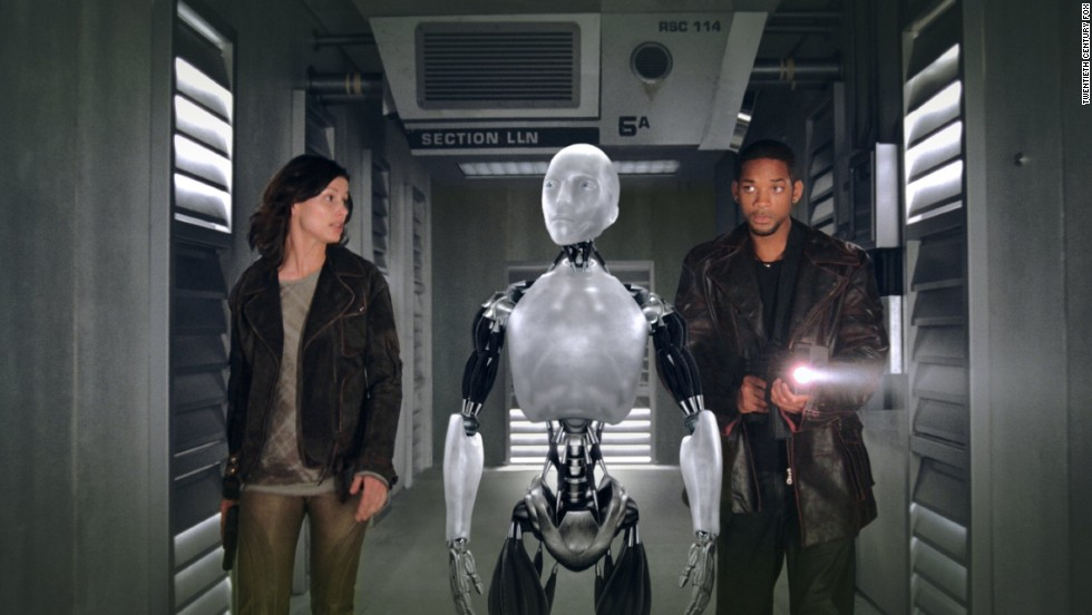 "Will Smith stars as Detective Del Spooner and Bridget Moynahan as Dr. Susan Calvin in ""I, Robot"" in which a robot named Sonny is suspected of killing a human."