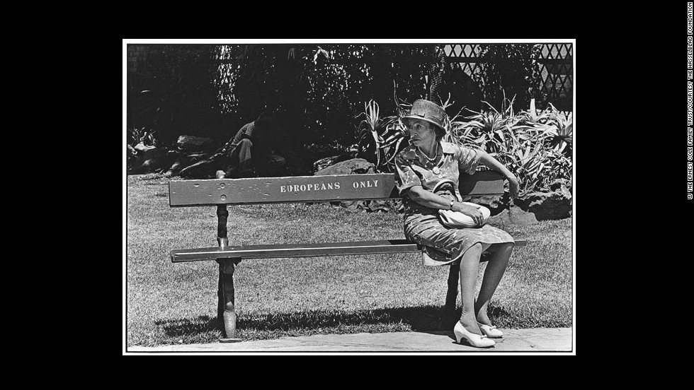 "(Struan Robertson and others report that Johannesburg city benches were inscribed for whites only. There were no ""blacks only"" benches in Johannesburg; blacks sat on the curbstones.)"