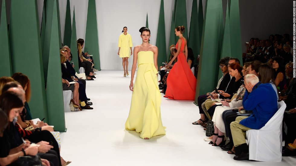 Carolina Herrera sent a model down in a soft yellow gown.
